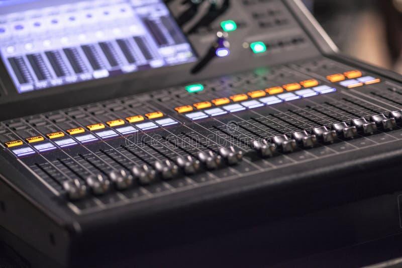 Professional multitrack audio mixer stock photography