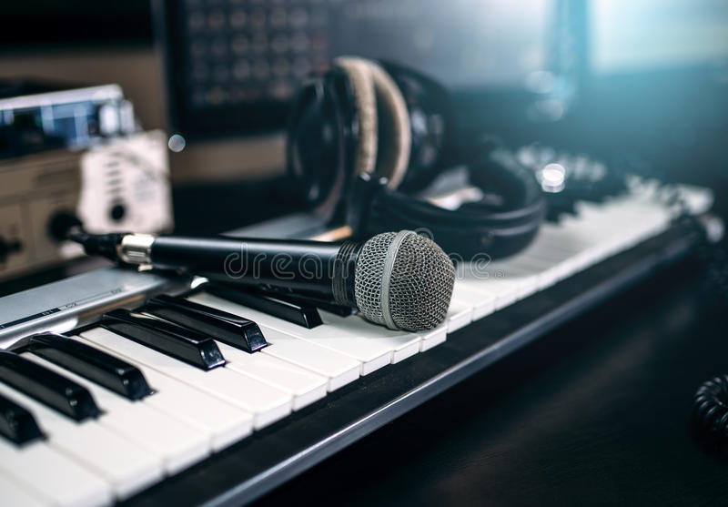 Download Professional Music Studio Equipment Closeup Stock Image