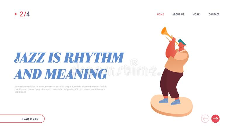 Professional Musician Playing Trumpet Instrument, Improvisation. Jazz Concert Landing Page. People Character Player royalty free illustration