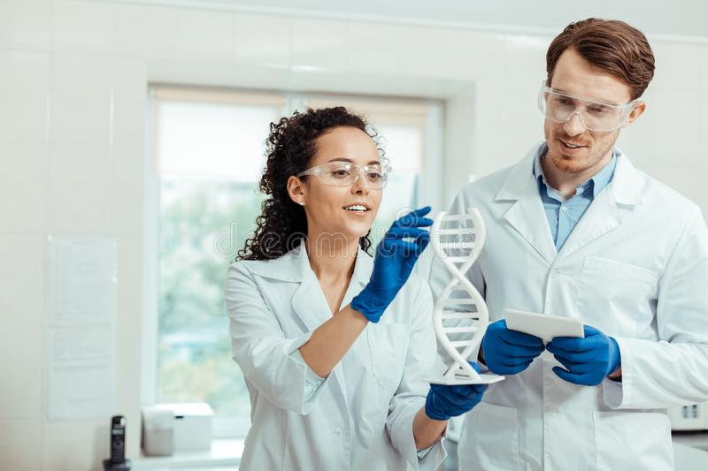 Professional nice smart scientists studying human genome. Important research. Professional smart scientists standing together while studying human genome stock photography
