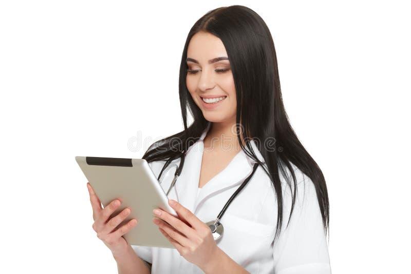 Professional nurse in hospital using modern tablet. stock photo