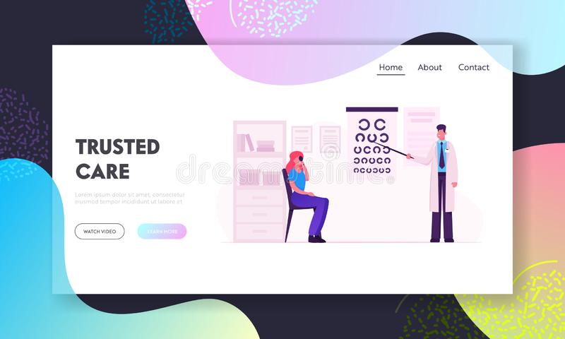 Professional Optician Exam Website Landing Page. Ophthalmologist Doctor Check Eyesight. Oculist with Pointer Checkup. Eye Sight for Treatment Vision Web Page vector illustration