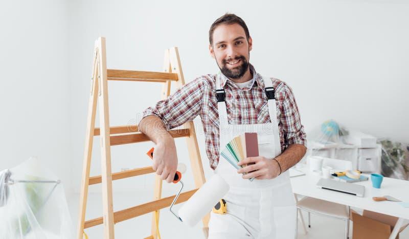 Professional painter posing stock photos