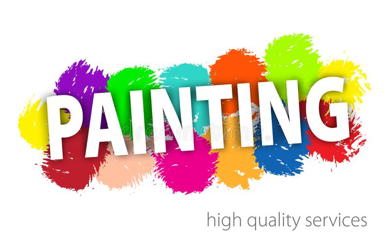 Professional Painting Services Logo. Abstract hand painted colorful textured ink brush on white background. stock illustration