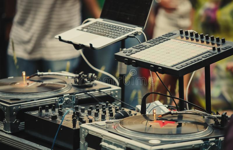 Professional party dj audio equipment on open air festival. Professional dj audio setup on stage at summer open air music festival.Disc jockey equipment for royalty free stock images