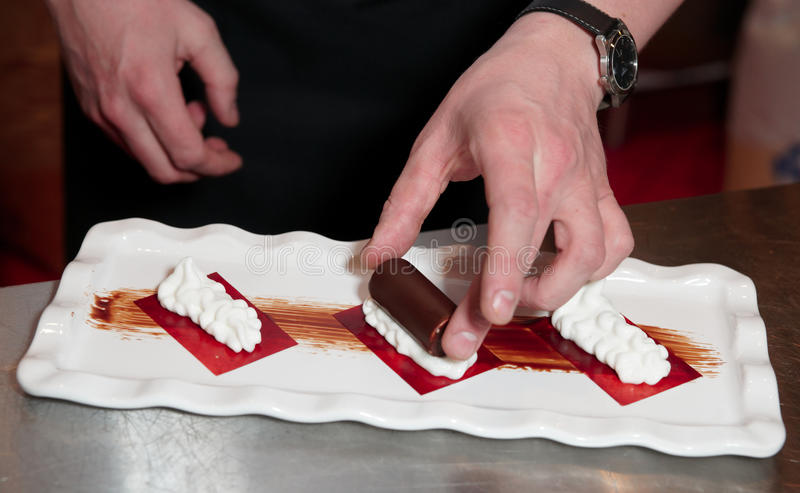 Download Professional Pastry Chef Is Making A Dessert Stock Photo - Image: 18177980