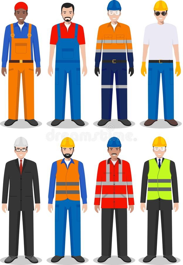 Professional people concept. Set of different detailed illustration of worker, builder and engineer in flat style on. Detailed illustration of worker, builder vector illustration