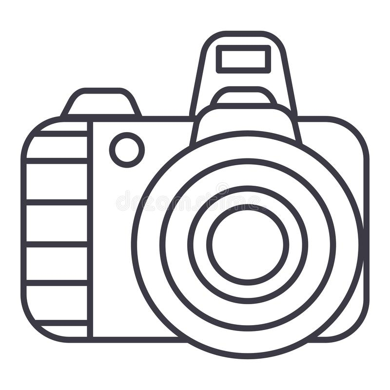 Professional photo camera vector line icon, sign, illustration on background, editable strokes royalty free illustration