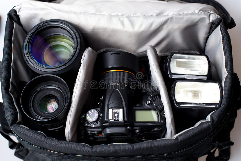 Professional photographer bag. Photo of professional photographer camera bag stock photos