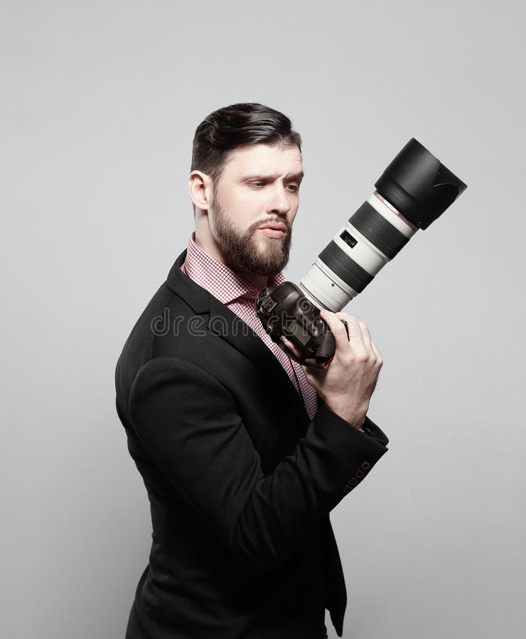 Professional photographer with digital camera .photo with copy space stock image