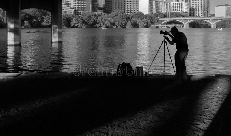 Professional Photographer Shooting Outdoor Photography City Landscape Photos stock image