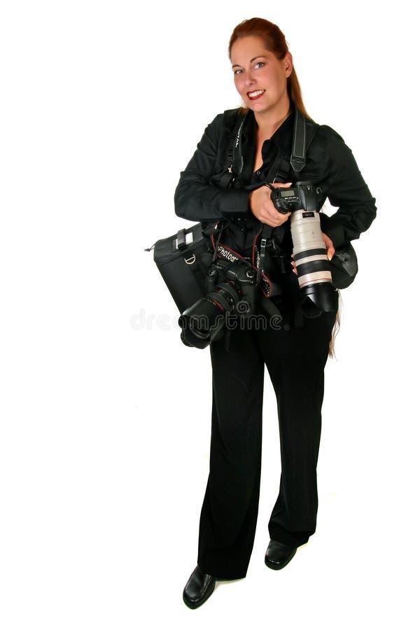 Professional Photographer on White royalty free stock image