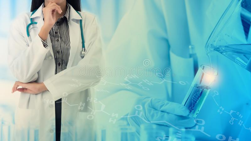 Professional physician with scientist or chemist researcher doing DNA extraction stock images