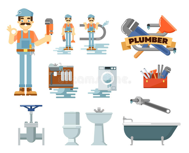 Professional plumbing repair service set. Professional plumbing repair service vector illustration. Plumber man in uniform with tools at work. Toilet, kitchen royalty free illustration