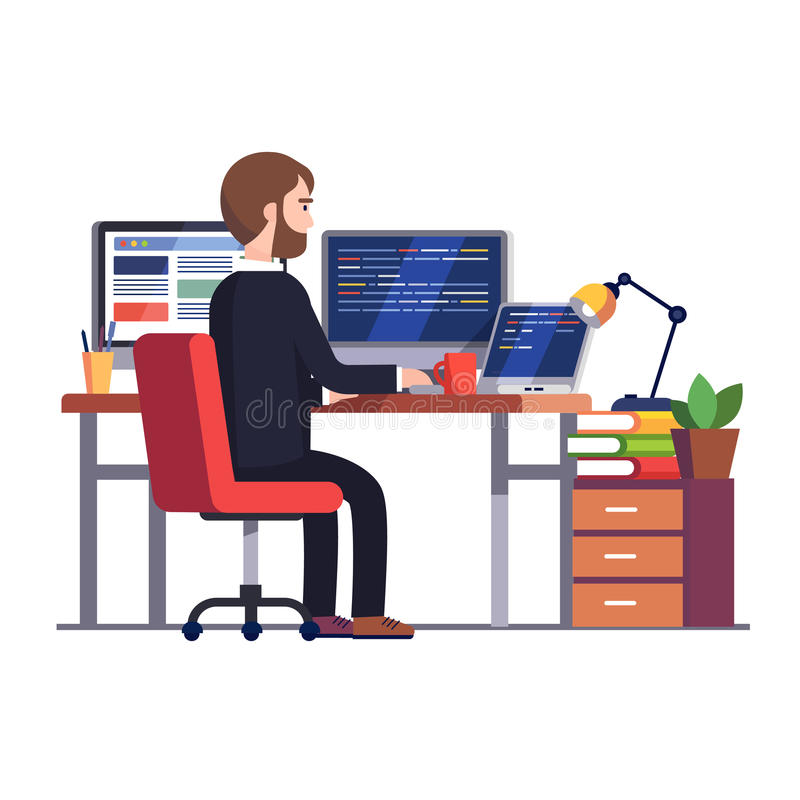 Professional programmer engineer writing code. Professional programmer engineer working writing code at his big desk with multiple displays and laptop computer royalty free illustration