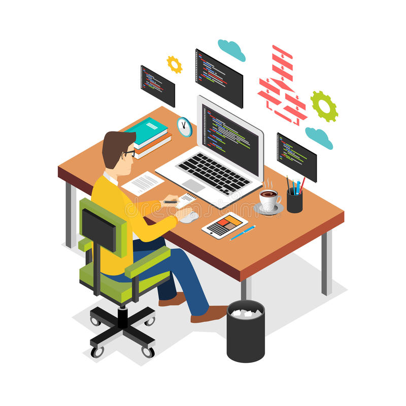 Professional programmer working writing code on laptop computer at desk. Programmer developer workplace. Flat 3d isometric technol vector illustration