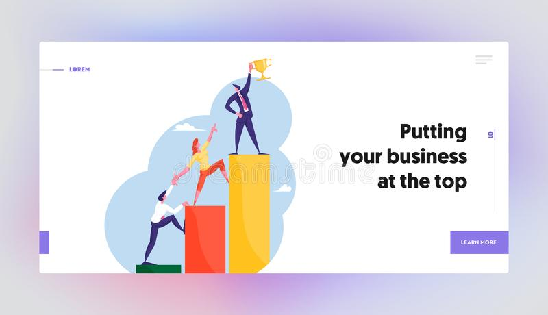 Professional Progress, Advancement Website Landing Page. Office Workers Characters Climb on Ascending Chart. Business Goal Achievement, Career Ladder Web Page royalty free illustration