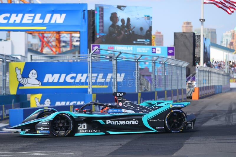 Professional racing driver Mitch Evans NZL of Panasonic Jaguar Racing Team driving his Formula E car 20 during 2019 NYC E-prix. NEW YORK - JULY 14, 2019 stock photo