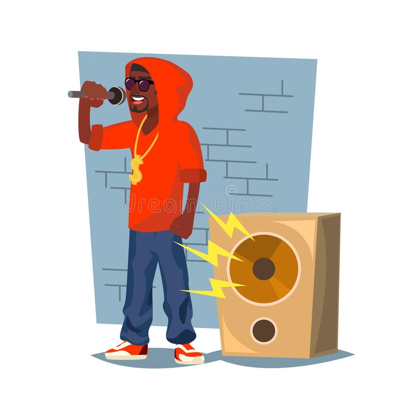 Professional Rapper Vector. Male Singer With Microphone. Cartoon Character Illustration vector illustration