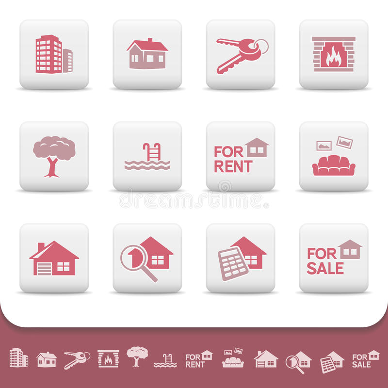 Professional real estate business vector icon set stock illustration