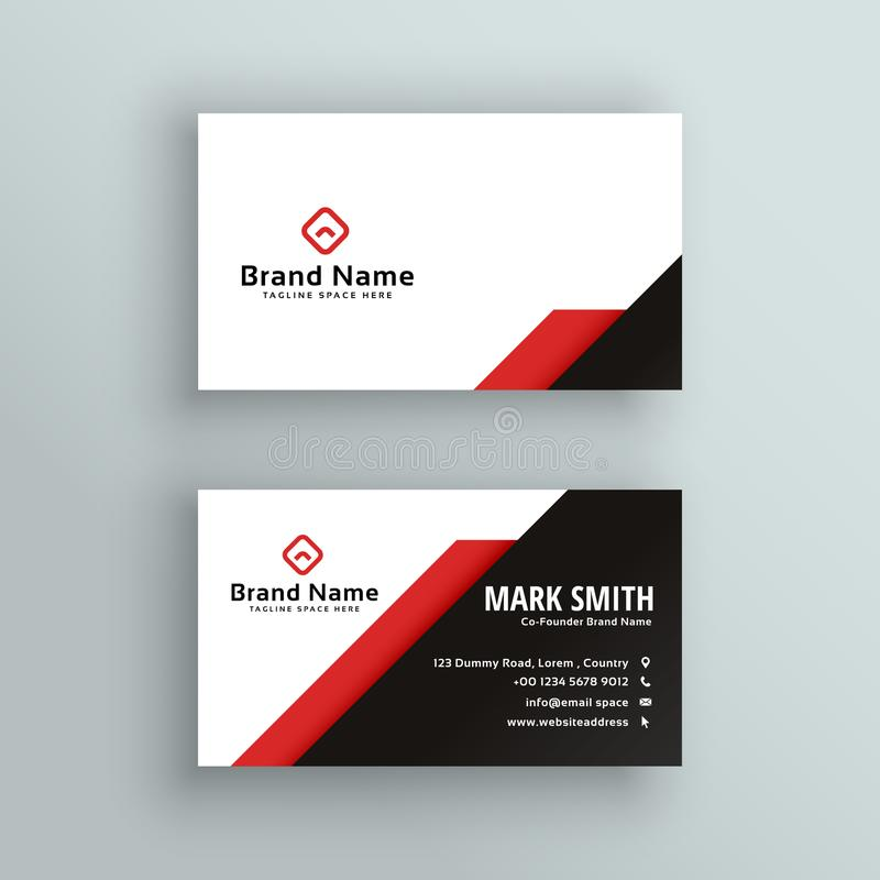 Professional red and black business card design royalty free illustration