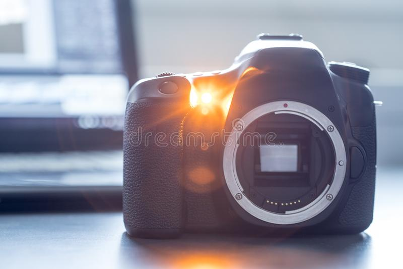 Professional camera: Reflex camera with open sensor. Professional reflex camera on a table, camera sensor, photography, photographer, lens, digital, review stock photography