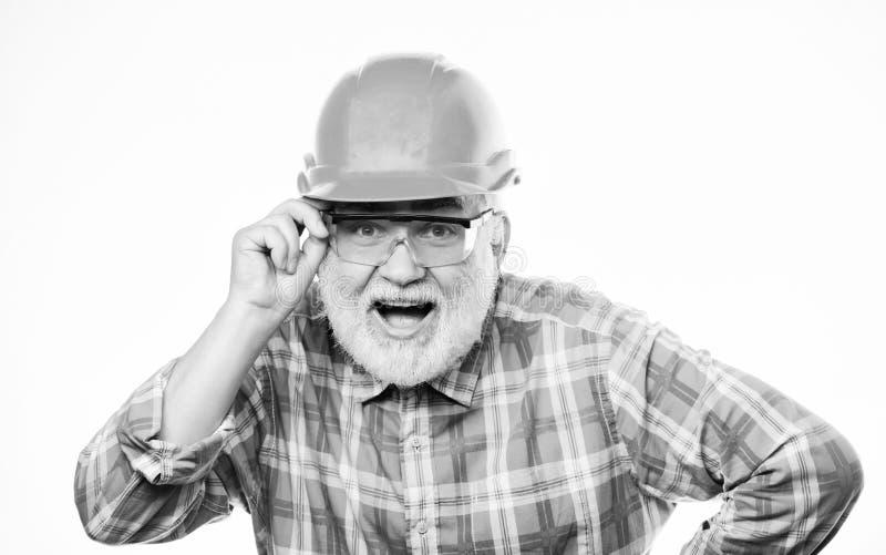 Professional repairman in helmet. architect repair and fix. engineer worker career. mature bearded man in hard hat. man stock photography