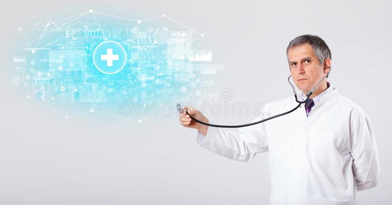 Professional researcher with stethoscope stock photo