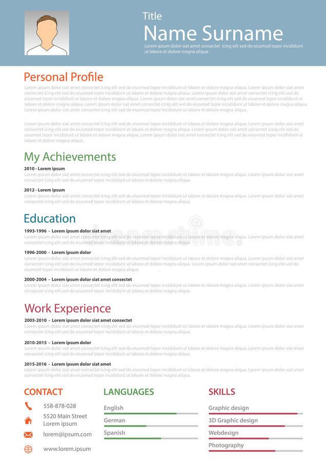download professional resume cv structured template stock vector image 88433968 - Structured Resume