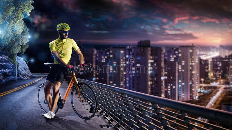 Professional road bicycle racer in action royalty free stock photos