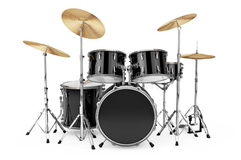 Professional Rock Black Drum Kit. 3d Rendering. Professional Rock Black Drum Kit on a white background. 3d Rendering stock photo