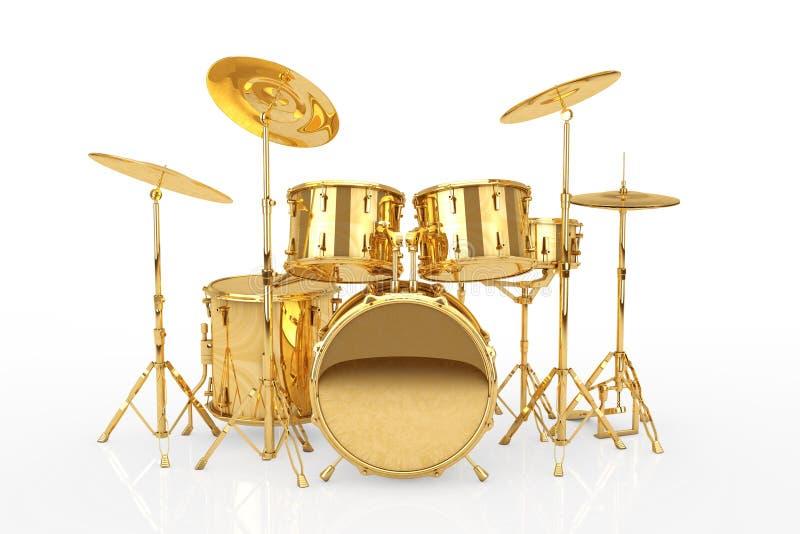Professional Rock Golden Drum Kit. 3d Rendering royalty free illustration