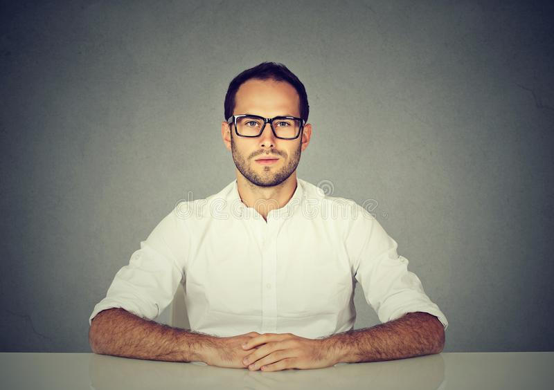 Professional serious man in glasses stock photography