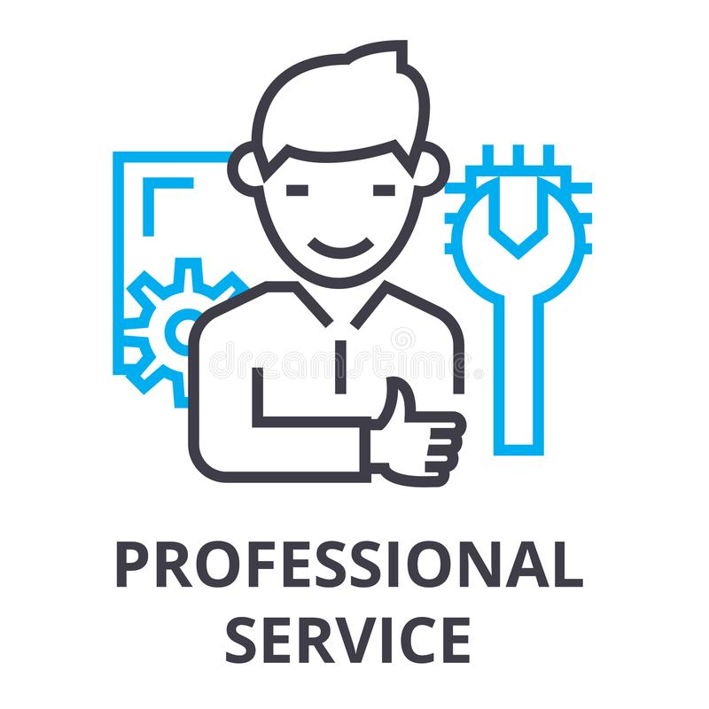 Professional service thin line icon, sign, symbol, illustation, linear concept, vector. Professional service thin line icon, sign, symbol, illustation, linear royalty free illustration