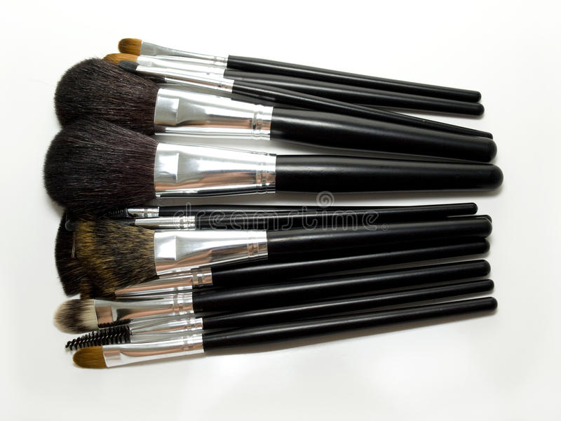 Professional set of make up brushes stock photo