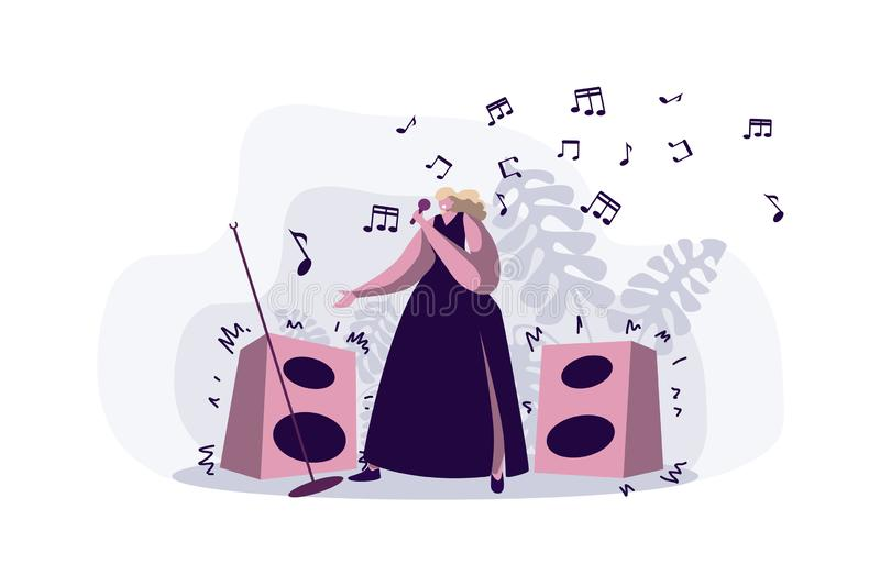 Professional singer performing song, young woman in dress holding microphone, female pop star, karaoke stock illustration