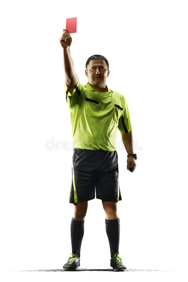 Professional soccer referee red card isolated on white background royalty free stock photo
