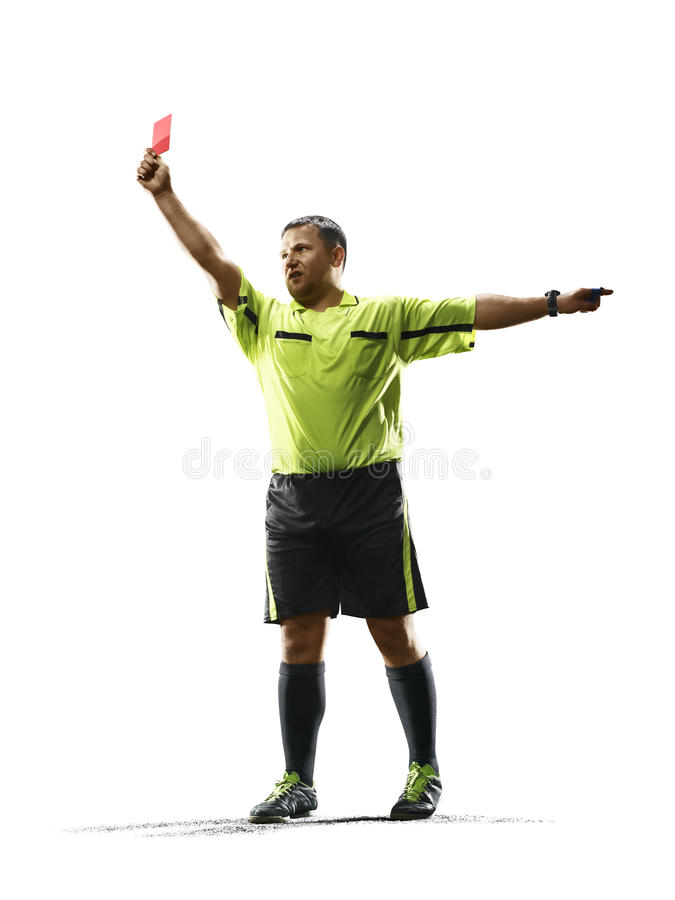 Professional soccer referee red card isolated on white background. Professional soccer referee isolated on the white background royalty free stock image