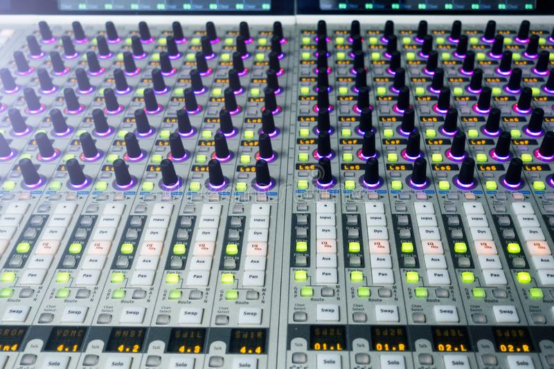 Professional sound engineer`s console. Remote control for the sound engineer. Mixing consoles. Remote concert sound engineer. royalty free stock images