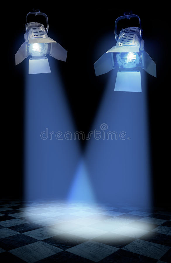 Professional stage spotlights stock photos