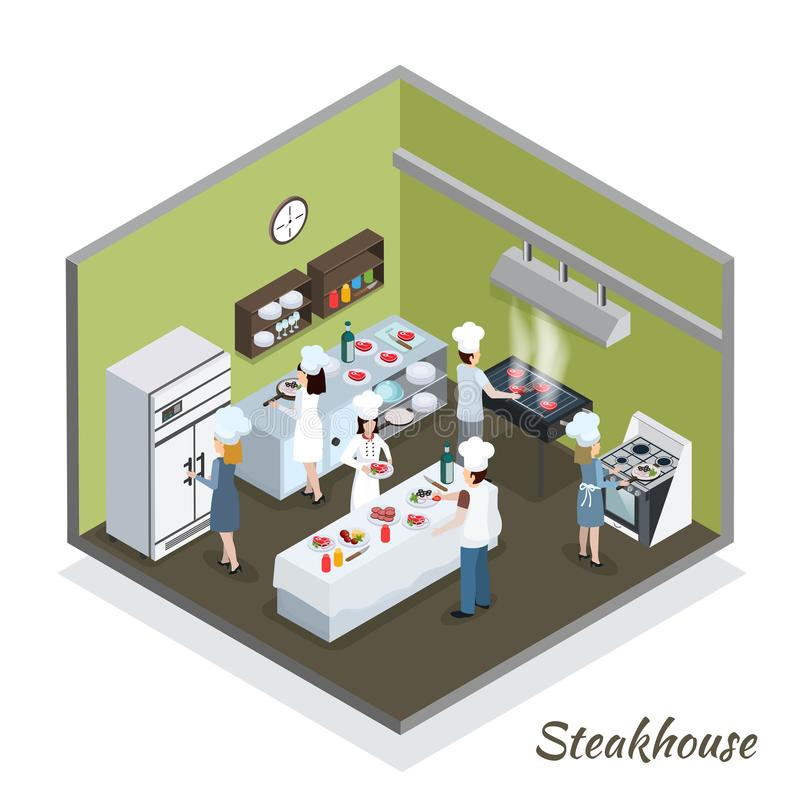 Professional Steakhouse Kitchen Interior Isometric royalty free illustration