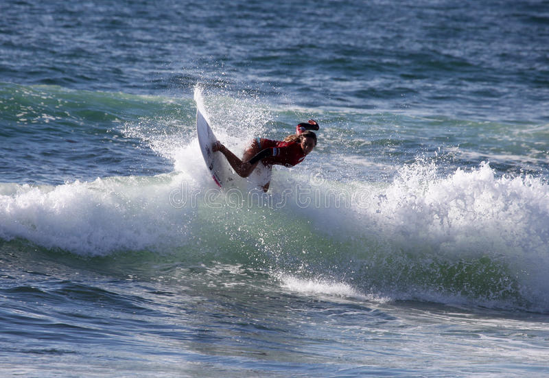 Professional Surfer - Cannelle Bulard - Merewether Australia. MEREWETHER AUSTRALIA - FEBRUARY 17: Cannelle Bulard from Reunion Island surfing in the Burton stock photos