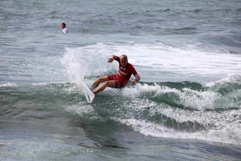 Professional Surfer - Jack Dugan - Merewether Australia. MEREWETHER AUSTRALIA - FEBRUARY 17: Jack Dugan from Australia surfing in the Burton Toyota Pro Junior stock photos