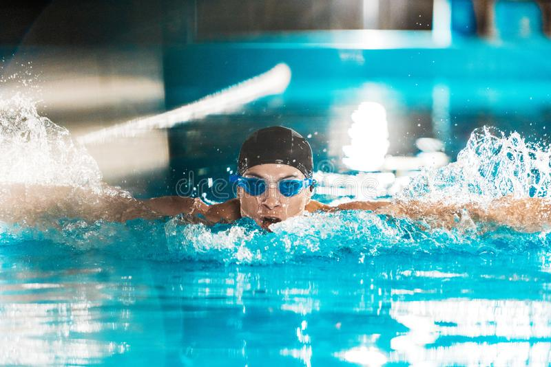 Young male professional swimmer in competition swimming. Pool royalty free stock images