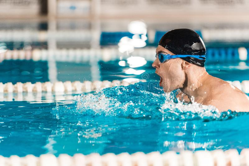 Young male professional swimmer in goggles in competition swimming. Pool royalty free stock photography