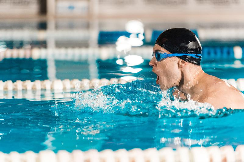 Young male professional swimmer in goggles in competition swimming. Pool stock photos