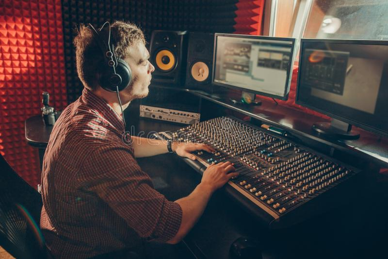 Professional talented sound mixer operator royalty free stock photos
