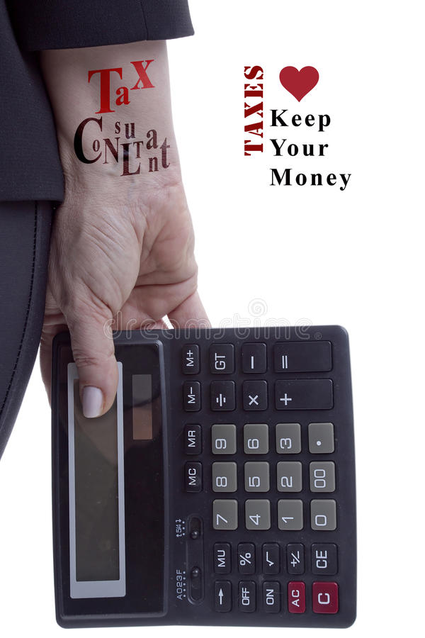 Professional tax consultant. The hand of a professional tax consultant with a calculator and an appeal to save your money royalty free stock photos