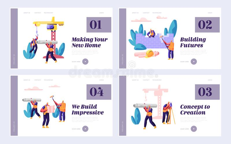Professional Team Builder in Process Construction Set Landing Page. Worker on Build House. People at Work Day. Project Building stock illustration