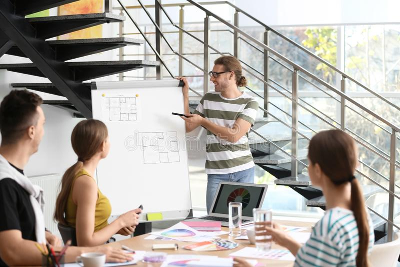Professional team of interior designers  working royalty free stock images